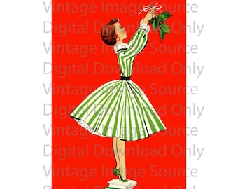 Digital Download 1950s Vintage Christmas Card Woman Hanging Holly Mistletoe Decor Retro Mid Century MCM Mid Century Card