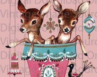 Digital Download 1950s Vintage Christmas Deer in Stocking Kitschy Pink Retro Reindeer Mid Century Card Reindeer MCM Mid Century Card