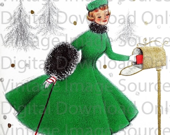 Digital Download 1950s Vintage Christmas Card Woman and her Dog Dress Kitschy MCM Mid Century Card