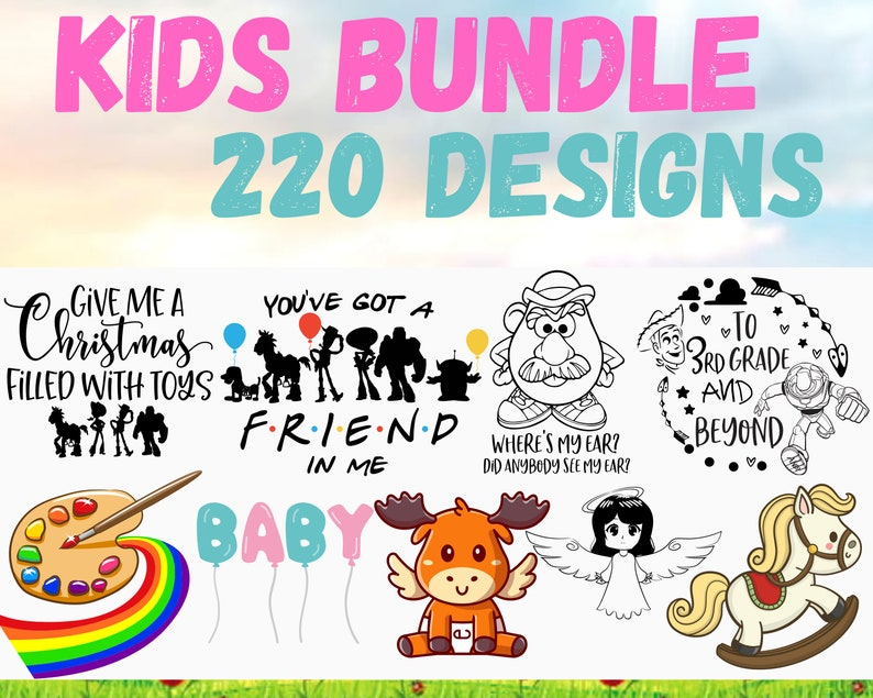 Kids bundle 220+ unique designs SVG and for cricut files Clipart Svg Kids life svg Baby shower t-shirts files Funny kids files