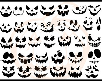 Pumpkin face svg, Jack O Lantern faces, Halloween pumpkins faces, Halloween bundle, Digital download, Instant Download, Cricut, SVG, PNG, Ta