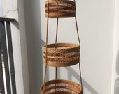 Vintage Rattan Hanging 3 Tiers Baskets,Woven Basket,Container,Storage Woven Basket,Tray Wall Basket Decor,Handmade Baskets,Home Decor