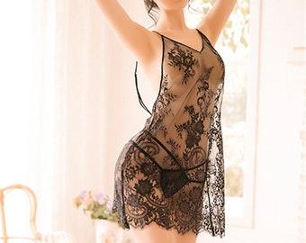 Details about  /Pajamas Womens Nightdress Mesh Nightie Nightwear See Through Sleepwear