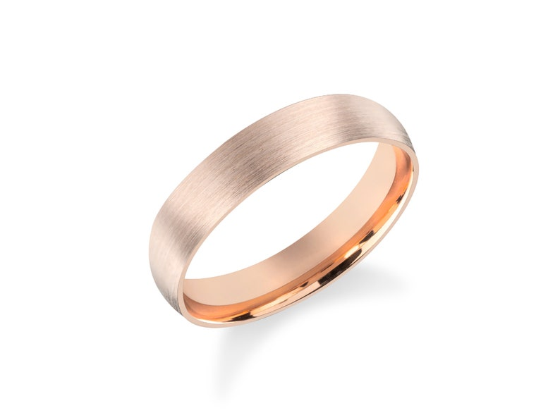 14k Matte Rose Gold Band  CLASSIC DOME  Brushed Ring  Comfort Fit  Men/'s Women/'s Wedding Band  Simple Wedding Ring His and Hers