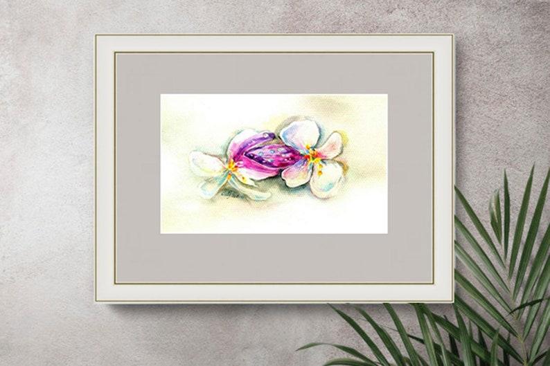 White Flowers Painting Original Flower Art Watercolor Small Art 6 by 8 lyraArt7