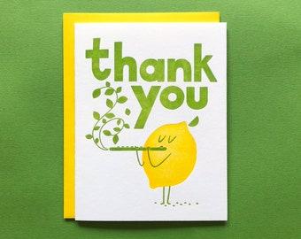 Thank You Lemon - Letterpress - Thank You Greeting Card - Blank Inside