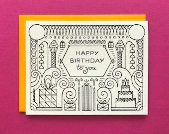 Deco Birthday - Letterpress - Birthday Greeting Card - Blank Inside