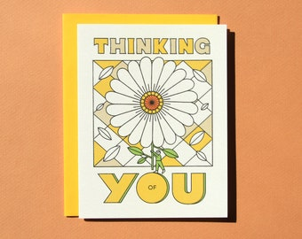 Thinking of You Greeting Card - Blind Letterpress