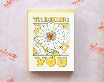 Thinking of You Boxed Set of 6 Cards and 6 Envelopes - Blank Inside - Blind Letterpress