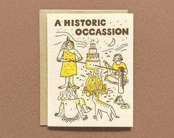 A Historic Occassion - Letterpress - Birthday Greeting Card - Blank Inside