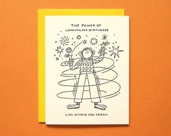One Billion Birthdays - Letterpress - Birthday Greeting Card - Blank Inside