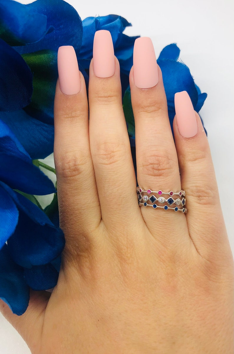 Sterling Silver Sapphire and CZ Stackable Ring