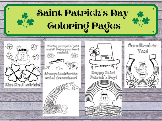 Saint Patrick's Day Themed Coloring Pages for Kids. Black