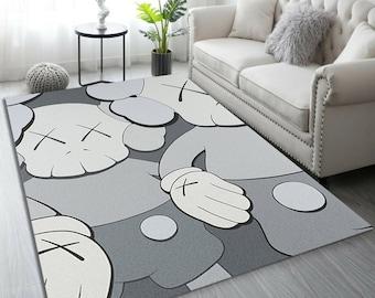 Holiday Grey Kaws Rug, Cool Fashion Inspired carpet, Living room Carpet, Sneaker Room