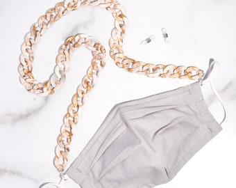 Cream Large Acrylic Link Mask & Glasses Chain