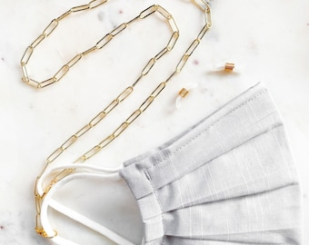 Gold Paperclip Link Mask & Glasses Chain