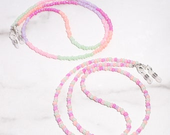 Pastel Rainbow and Pastel Colorblock Beaded Mask & Glasses Chains