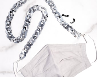 Gray Marble Large Acrylic Link Mask & Glasses Chain