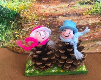 Handmade Spring Pine Cone Couple