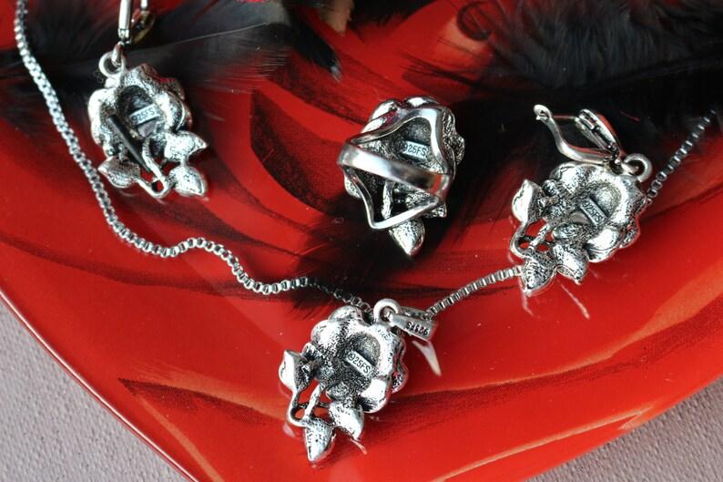 Crystal Roses ring earrings Tibetan silver Accessories for women  for her Roses Jewelry Set- Necklace