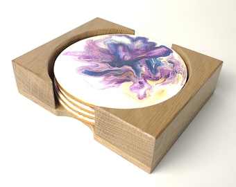 """Flat Wooden Coaster Holder, Fits 4"""" Round Coasters"""