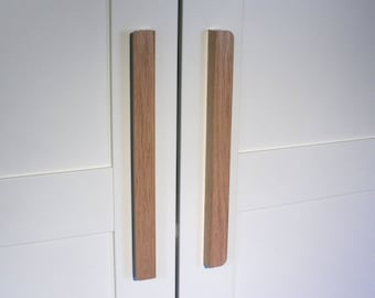 Oversized L-Shaped Oak Drawer Pull, Wooden Wardrobe Handle