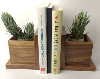 Walnut Bookend with Integrated Planter Box
