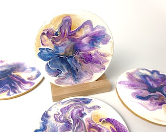 Hand Painted Coaster Set, Blue, Purple and Gold