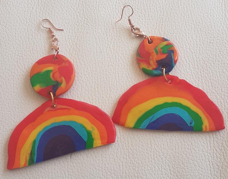 Rainbow EarringsPendant Polymerclay Fimo