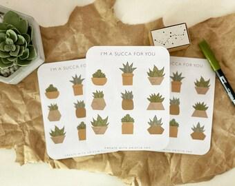 Succulent Sticker Sheet, Aesthetic Sheet, Bujo Plant stickers, Cute Sticker Sheet