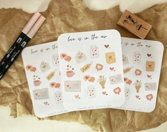 Love is in the Air Sticker Sheet   BUJO sticker sheets   Aesthetic Stickers   Cute Stickers Sheet   Scapbooking