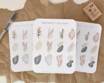 Abstract Foliage Sticker Sheet   Floral Stickers   Minimal Sticker Sheet   Aesthetic Stickers   BUJO Sticker Sheet  Bullet Journal Stickers