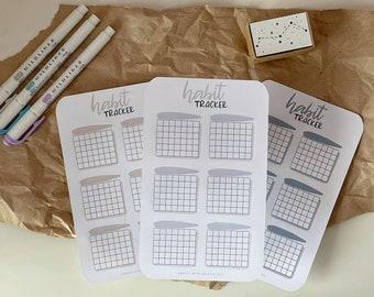 Bujo Habit Tracker Sticker Sheet, Planner Stickers, Monthly Sticker Sheet