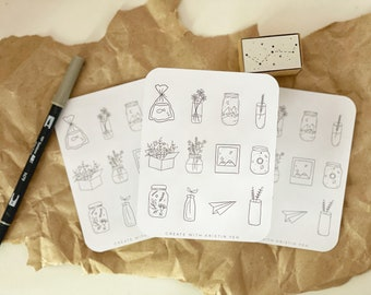 Minimal Aesthetic Sticker Sheet, Bujo stickers, Simple Stickers