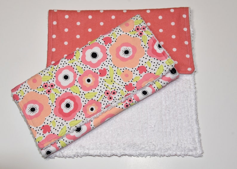 Burp Cloth Set of 2 Baby Girl Burp Cloth Soft and Absorbent Baby Gift Cotton Flannel and Cotton Chenille Burp Cloth Large Size