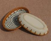 Hand woven straw basket natural rattan ceramics disc wedding decor housewarming gift for friend