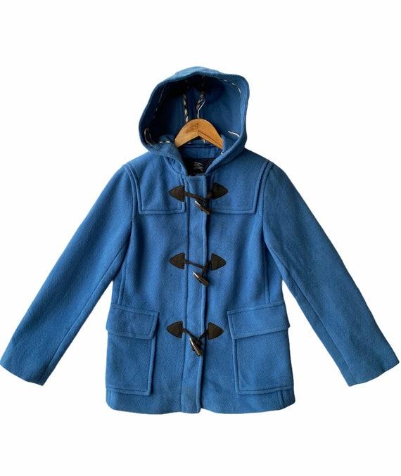 Burberry London Navy Blue Hoodie Duffle Coat