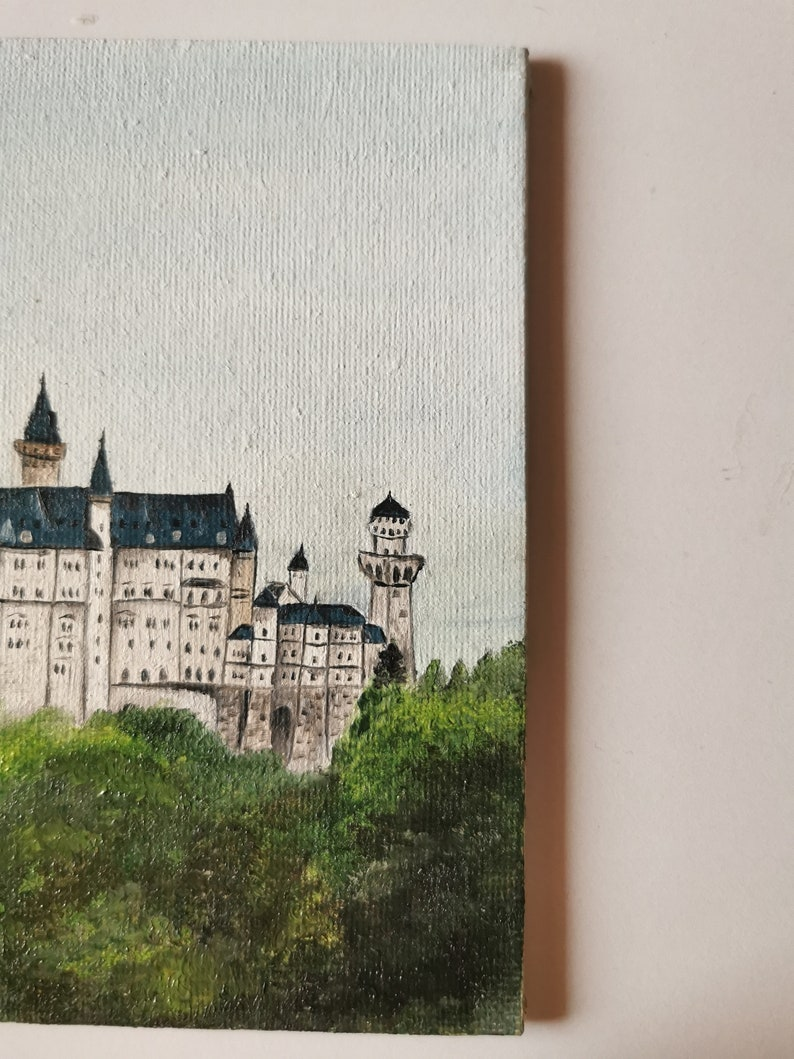 Germany small oil painting on canvas board 10,5x15 cm cityscape landscape Neuschwanstein Castle nature