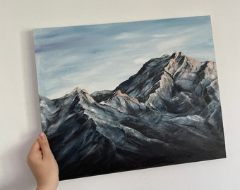 Mountain Landscape Painting, Original Oil Painting, size: 40x50 cm, Abstract Snowy Mountains, Winter landscape, Wall Art, 38x46 cm