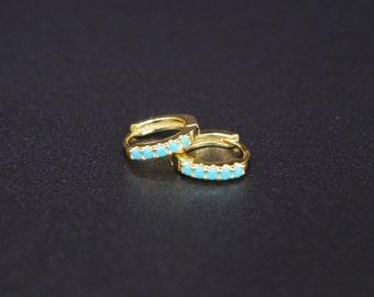 18K Gold Plated Turquoise Hoop Bezel Earrings | Tiny Charm Hoops | Huggie | Delicate Earrings | Minimalist Hoops | Small Hoop Earrings