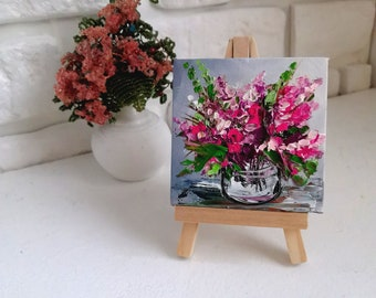 Oil art 3x3 Miniature painting on easel, Tiny art on canvas, palette knife painting of meadow flowers Tiny oil art, wildflowers oil painting