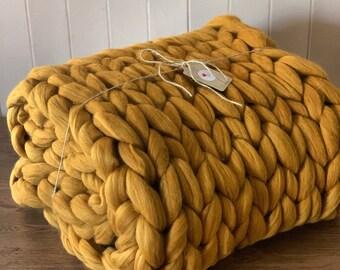 Hand knitted Merino Wool Throw over