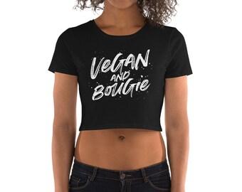 Vegan & Bougie White Lettering Women's Crop Tee