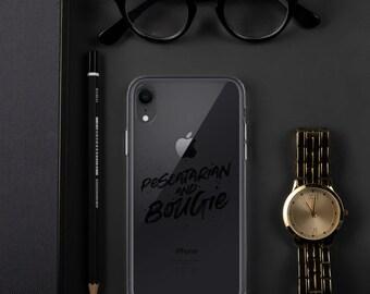 Pescatarian & Bougie iPhone Case Black Print