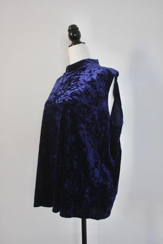 Vintage Blue Velvet Top, Plus Size Vintage, High … - image 3