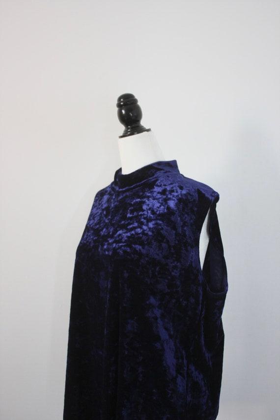 Vintage Blue Velvet Top, Plus Size Vintage, High … - image 2
