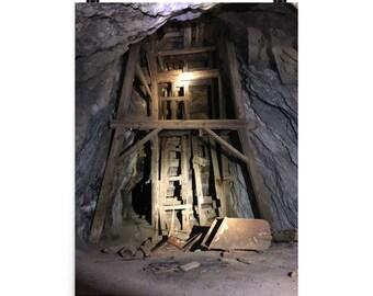 The De Soto underground head frame. Art print.