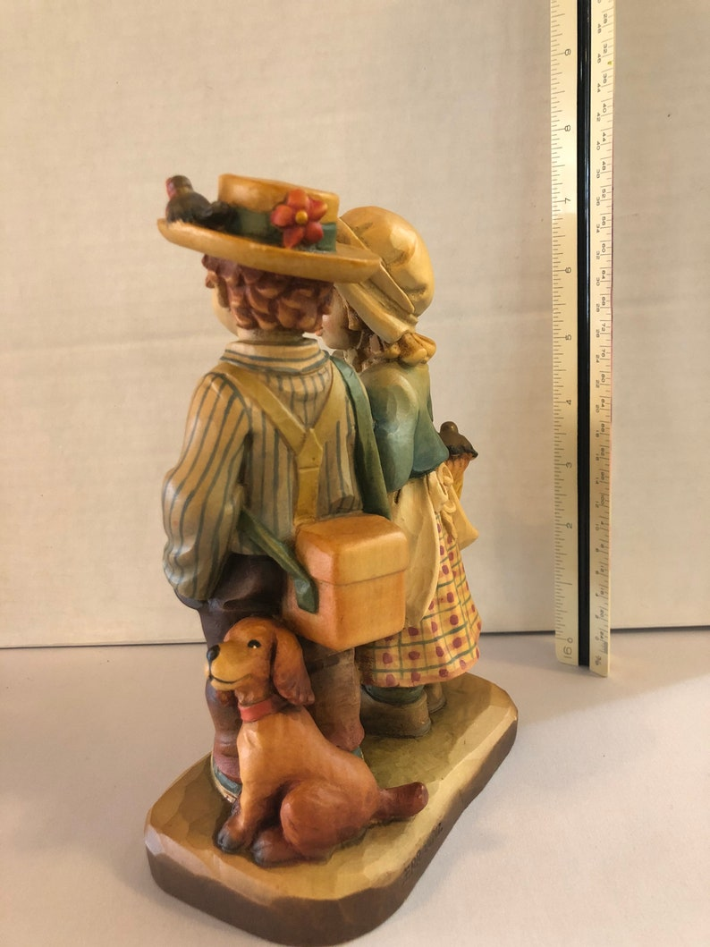 42750 ANRI Ferrandiz \u201cSpringtime Stroll\u201d Wood Carving