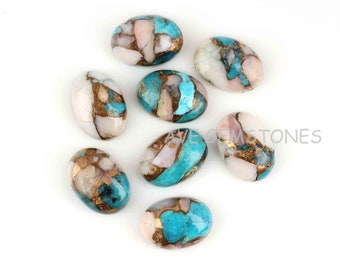 Pink Opal Pendant Earring making Cabochons 12x19mm 2 pcs set, Pink Opal Copper Turquoise Oval shape Flat Cabochon Gemstone for jewelry
