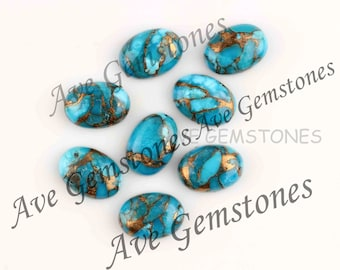 Synthetic Turquoise Oval Shape Calibrated Size Jewelry Making Loose Gemstone#AR68 10 Pieces Of 8x10mm Turquoise Oval Shape Cabochons